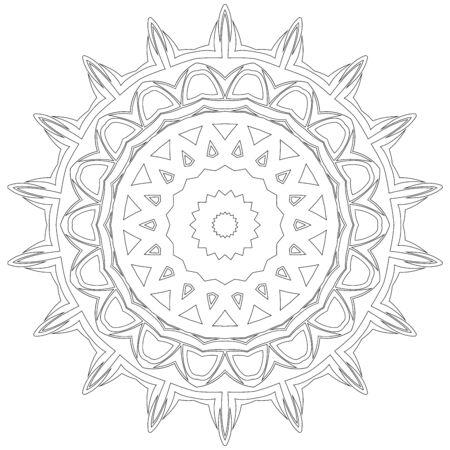 phantasy: Black symmetric mandala like a adult coloring page Illustration