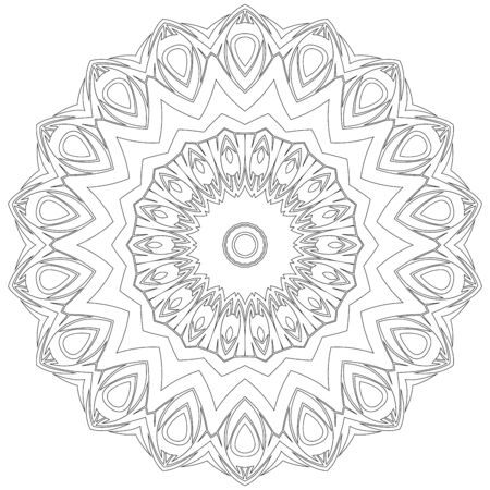 mindfulness: Black symmetric mandala like a adult coloring page Illustration