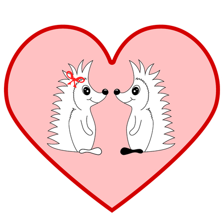Coloring book with Two hedgehogs falling in love