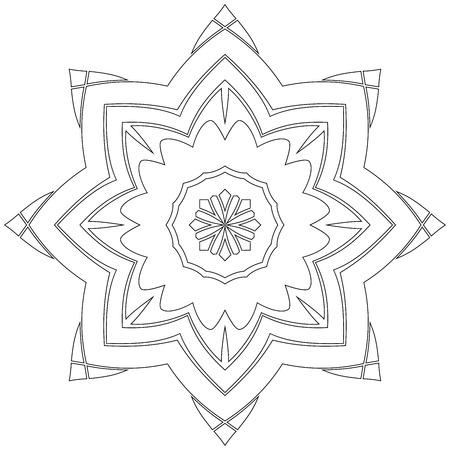 Mandala Simétrica Negro Como Una Página Para Colorear Para Adultos ...