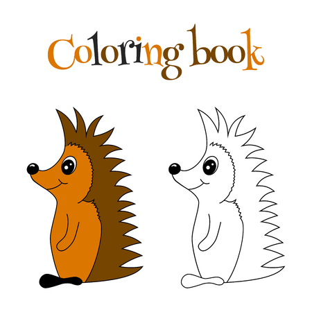 disengagement: Coloring book of cute hedgehog with pattern