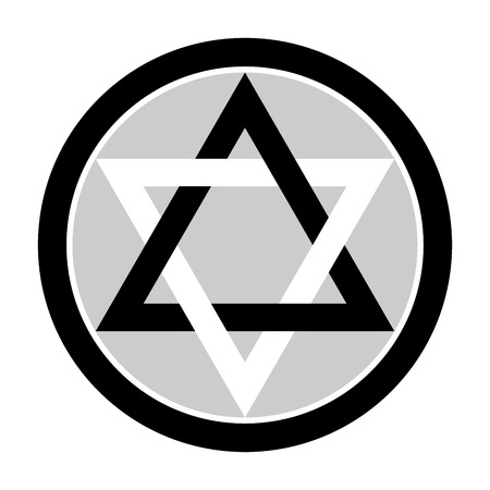 new age: Six pointed star in black and gray colors