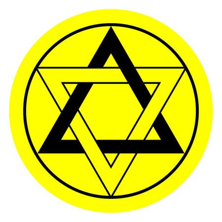 esoterismo: Estrella de seis puntas en colores negro y amarillo