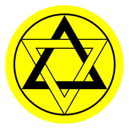 inexplicable: Six pointed star in black and yellow colors Illustration