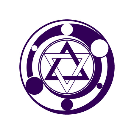 duality: Phantasy six pointed star symbol in dark violet color