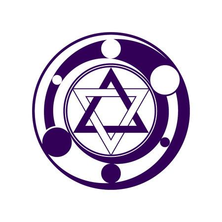 phantasy: Phantasy six pointed star symbol in dark violet color