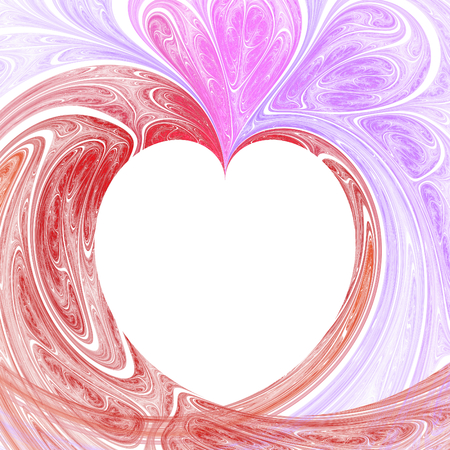 hallucinatory: Abstract crazy fractal heart with white background Stock Photo