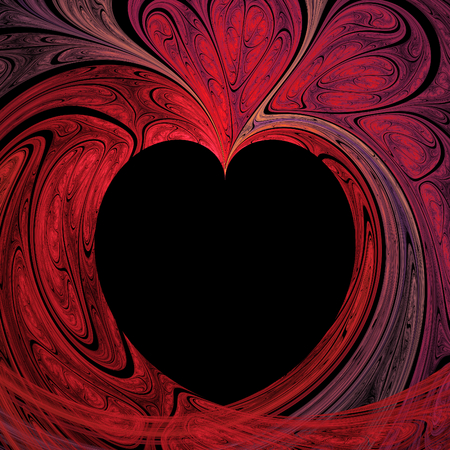 Abstract crazy fractal heart with black background Stok Fotoğraf