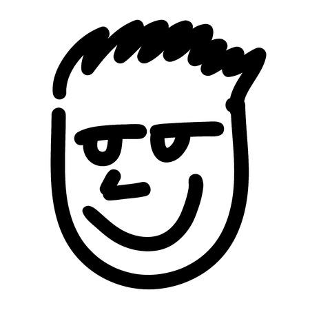 boyish: Sketch of boyish face. Simple sketchnote of head with hair