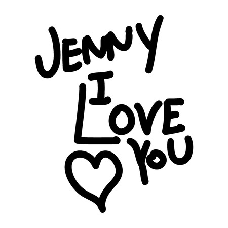 declaration: Text Jenny I love you. Declaration of love with heart. Handwritten love letter.