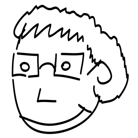 a fellow: Person with glasses handwritten by black ink