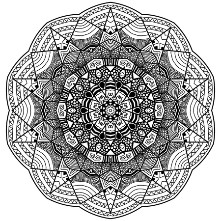 Mandala in zentangle style. Hand drawn mandala with hand drawn patterns. Zentangle is self soothing activity. Illustration