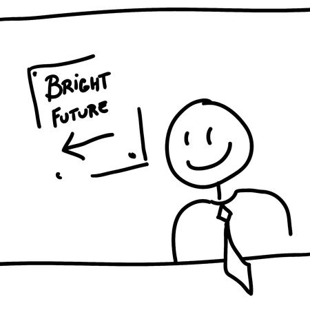 bright future: Man and board with text bright future