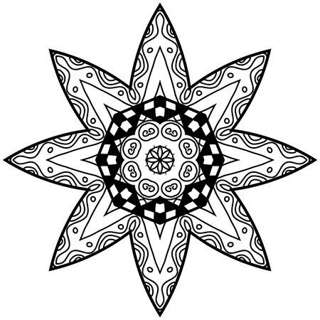 thrive: Floral doodle adult coloring page. Mandala with hand drawn patterns. Mandala in zendoodle style. Mandala for adult coloring pages, t-shirt or prints. Illustration