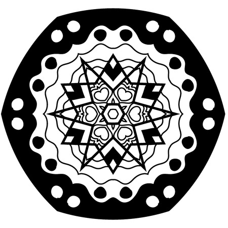 restful: Dark mandala with hand drawn patterns. Mandala in zendoodle style.