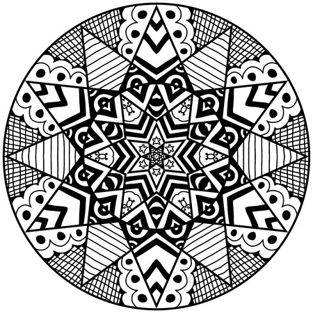 restful: Mandala with hand drawn patterns. Adult coloring page. Mandala in zendoodle style. Illustration