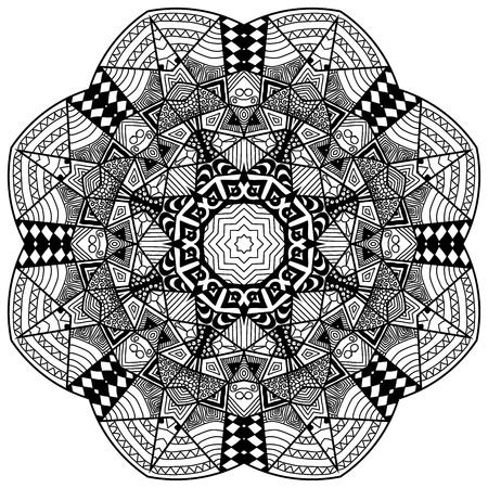 soothing: Mandala in zenart style. Hand drawn mandala with hand drawn patterns. Zenart is self soothing activity.