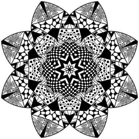 thrive: Flourish zendala. Mandala flourish element in zenart style. Hand drawn mandala with lots of different hand drawn patterns. Zenart adult coloring page.
