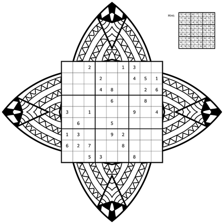 Sudoku with solution and antistress coloring book. Magic square. Number place. Combinatorial number placement puzzle. Mandala frame of sudoku may be used as decoration or antistress coloring page.