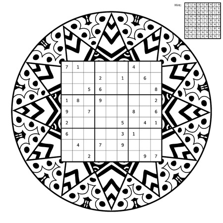 complete solution: Sudoku with solution and antistress coloring book. Magic square. Number place. Combinatorial number placement puzzle. Mandala frame of sudoku may be used as decoration or antistress coloring page.