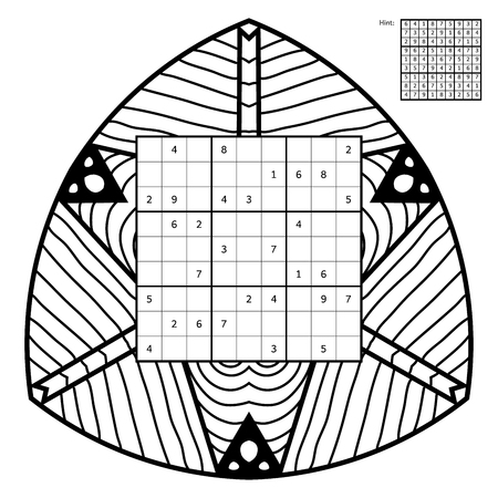 conundrum: Sudoku with solution and antistress coloring book. Magic square. Number place. Combinatorial number placement puzzle. Mandala frame of sudoku may be used as decoration or antistress coloring page.