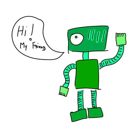 Robot says Hi, my friend. Green friendly robot
