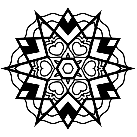 restful: Nice element in zendoodle style. Hand drawn mandala with hand drawn patterns. Simple adult coloring page. Zendoodle is self soothing activity. Illustration