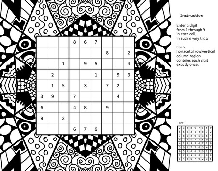 Number place with answer and instructions. Antistress coloring book frame. Magic square. Combinatorial number placement puzzle. Frame of puzzle may be used as decoration or antistress coloring page.
