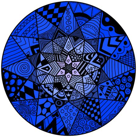 lunatic: Decorative element. Mandala in crazy colors. Psychedelic design.