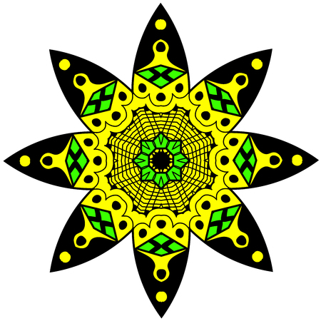 hallucinatory: Decorative element. Mandala in crazy colors. Psychedelic design.