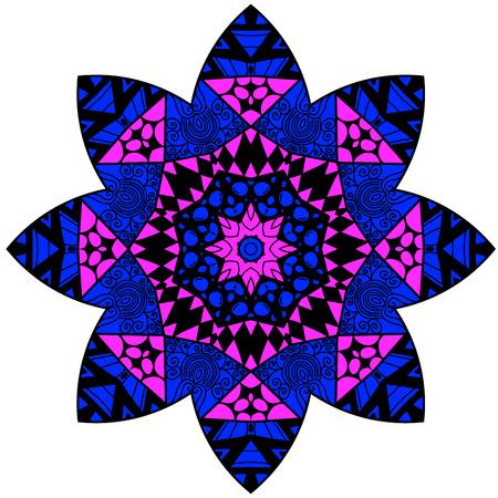 lunatic: Mandala design. Mandala in crazy colors. Decorative element. Illustration