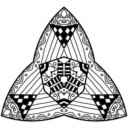 trigonal: Triangle element in zendoodle style. Hand drawn mandala with hand drawn patterns. Simple adult coloring page. Illustration