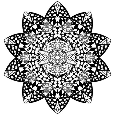 thrive: Flourish mandala. Zendala and flourish design. Mandala in zenart style.