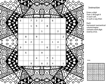 Number place with answer and instruction. Antistress coloring book frame. Magic square. Combinatorial number placement puzzle. Frame of puzzle may be used as decoration or antistress coloring page.