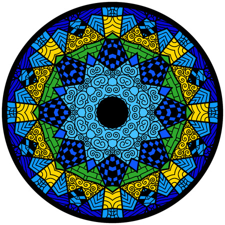 Mandala. Round ornament pattern. Decorative element. Mandala in crazy colors. Psychedelic design. Çizim