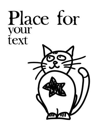 garabatos: dibujado a mano gato h�roe con el lugar de texto