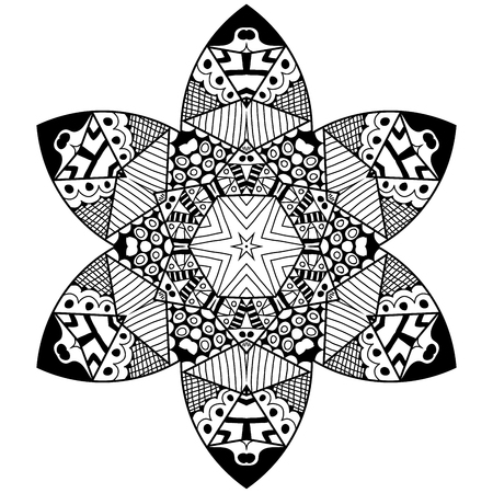 thrive: Mandala flourish element in zenart style. Hand drawn mandala with lots of different hand drawn patterns. Zenart adult coloring page. Illustration