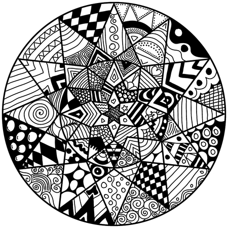 soothing: Mandala. Round ornament pattern. Mandala element in zen doodle style. Hand drawn mandala with lots of different hand drawn patterns. Adult coloring page. Zen doodle is self soothing activity.