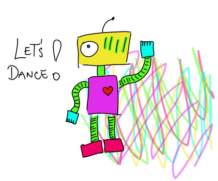 says: Robot calling to action. Robot says Lets dance. Psychedelic robot. Illustration
