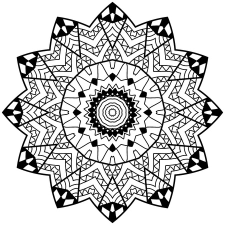 restful: Adult coloring page. Floral doodle art. Mandala with hand drawn patterns. Mandala in zendoodle style.