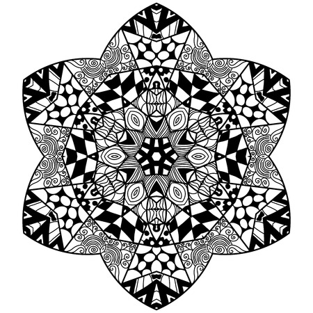 soothing: Floral element in zendoodle style. Hand drawn mandala with hand drawn patterns. Zendoodle is self soothing activity.