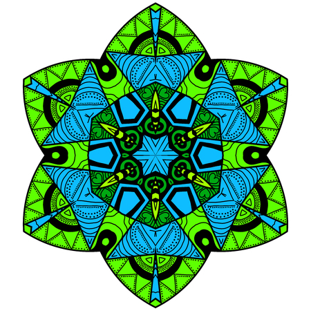 Decorative element. Mandala in crazy colors. Psychedelic design.