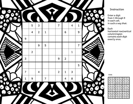 instruction: Number place with answer and instruction. Antistress coloring book frame. Magic square. Combinatorial number placement puzzle. Frame of puzzle may be used as decoration or antistress coloring page.