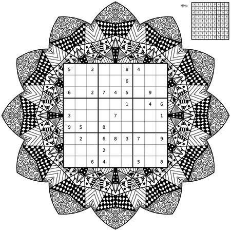 Anzahl Ort Mit Der Lösung Und Anti-Stress-Malbuch. Magisches Quadrat ...