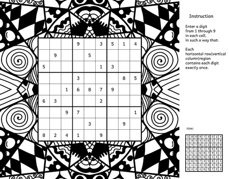 complete solution: Number place with answer and instruction. Antistress coloring book frame. Magic square. Combinatorial number placement puzzle. Frame of puzzle may be used as decoration or antistress coloring page.