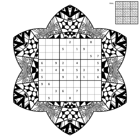 complete solution: Number place with answer and antistress coloring book. Magic square. Combinatorial number placement puzzle. Mandala frame of puzzle may be used as decoration or antistress coloring page.