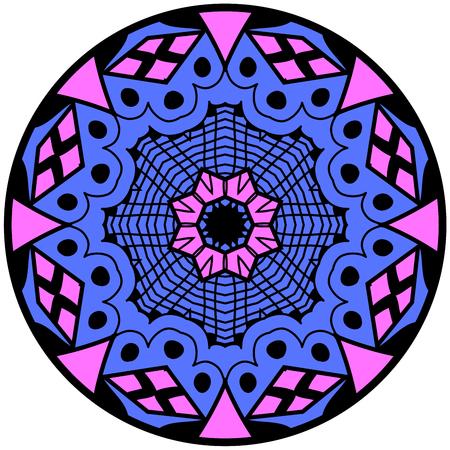 lunatic: Mandala. Round ornament pattern. Decorative element. Mandala in crazy colors. Psychedelic design. Bluish mandala.