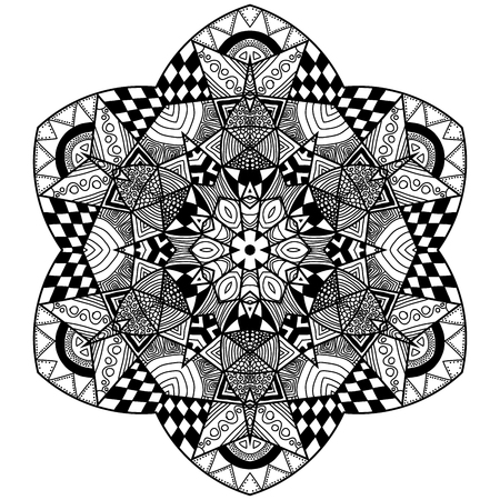 soothing: Flower element in zendoodle style. Hand drawn mandala with hand drawn patterns. Zendoodle is self soothing activity. Illustration