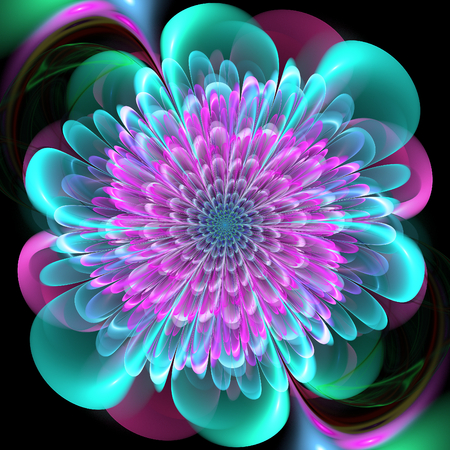 thrive: Fractal flower. Abstract fractal art in floral style. Colorful fractal petals.