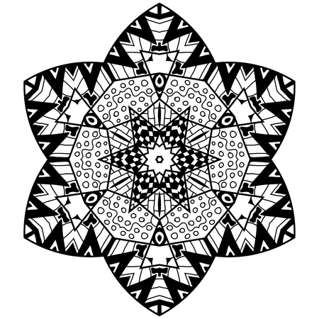 thrive: Mandala element in zenart style. Hand drawn mandala with lots of different hand drawn patterns. Zenart adult coloring page.
